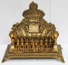 Judaica/copper Hanukkah with lions, oil lamp, German, Jewish, 1900-1920
