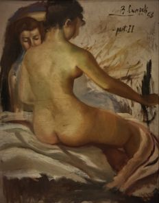 B. Campells (Spanish School of the1950s) - Desnudo de espalda