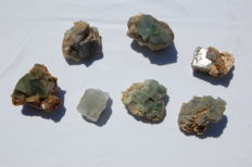 Rare Italian Fluorite crystal lot  - 707,6 gm (7)