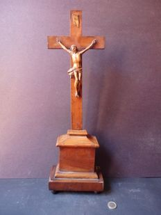 Beautiful standing Crucifix wood carving - France - middle of the 19th century