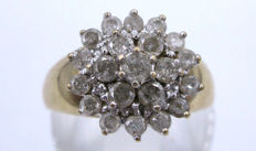 Gold Diamond Cluster ring 1970 - 1 CT Diamond Marked in the band ring *** No Reserve Price ***