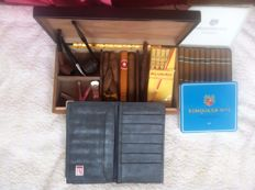 Two pipes (Falcon and red wood) 1990. Tobacco box and cigars from Cuba and Canary Islands