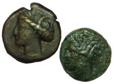 Greek Antiquity - Lot of two Æ - North Africa, Zeugitania, Carthage, circa 3rd-2nd century BC - Uncertain mint - SG 6526 / SNG Cop 109-19