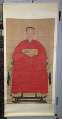 "Large ancestor portraits of a lady in red robe with ""9th rank -flycatcher"" insignia badge - China - second half 20th century"