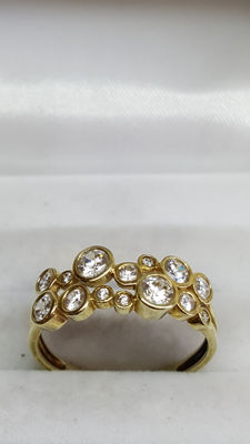 14 kt yellow gold handmade ladies' ring, set with zirconia, no reserve price!