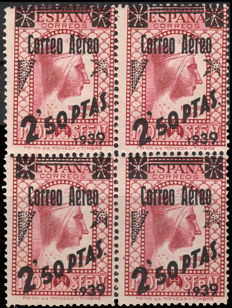 Spain 1938 – Authorized Montserrat, 2.50 pesetas. – Edifil 791FNa
