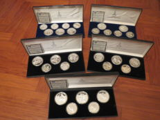 "Russia - 5 official sets of ""Moscow Olympics, 1980"" - Silver"