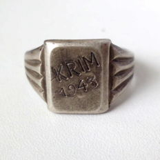 Commemorative ring made of 830 silver, Wehrmacht, WWII