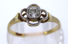 18K Yellow Gold Daisy Ring - 1 Big Old Mine Cut Diamond 0.35 CT SI1K