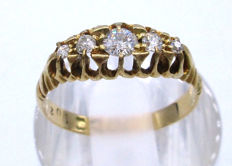 18K Yellow Gold Old Cut Diamonds, 5 Diamonds 0.50 CT VS1H