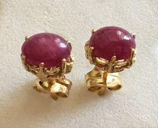New earrings in 18 kt yellow gold with 2 rubies of 1.20 ct