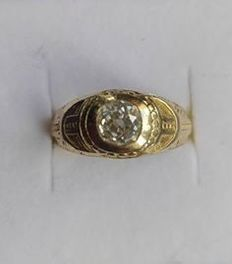 France - Antique gold signet ring for men - Freemasonry and diamond - Ca.  1.1 ct