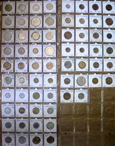 France - 1 centime through 100 francs 1854/1992 (66 different types), including 10 x zilver