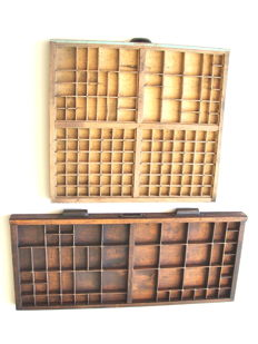 Two old letter trays
