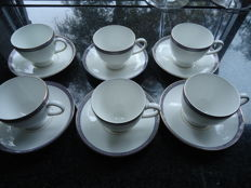 Six original Wedgwood Bone China cups and saucers