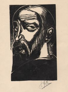 Jan Mulder (1895-1988) - Hand-signed woodcut of a man's head - Around 1930