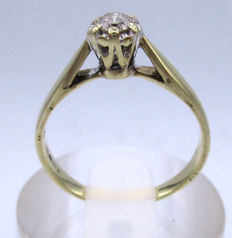 Gold Diamond Engagement ring 1967 - with 1 big diamond round cut 0.42ct SI1K