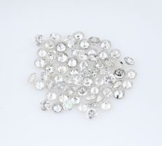 65 Diamonds - 0.64 ct. Natural Round Brilliant - no reserve price