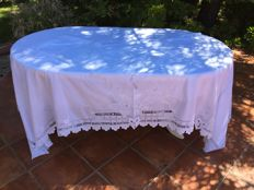Rare embroidered muslin double sheet, handcrafted, Sicily, second half 19th century