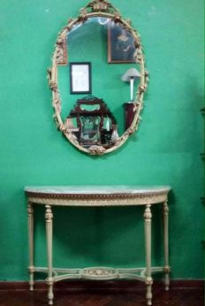 Venetian console table with wall mirror and precious marble top - Italy, 20th century