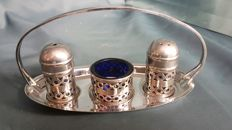 3-piece condiment set with silver plated tray