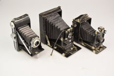 """Three beautiful old """"bellows cameras"""""""