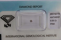 Natural Fancy Pink Diamond 0.05 ct  with IGI cert
