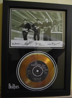 The Beatles, photo and gold disc effect presentation.for their song; 'She Loves You'. Parlophone Record label. With facsimile signatures.