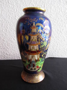 Vintage Carlton Ware Art Deco vase with an Eastern house design