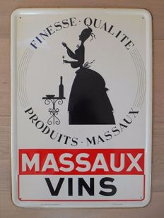 Metal advertising sign by 'Massaux Vins' from 1953