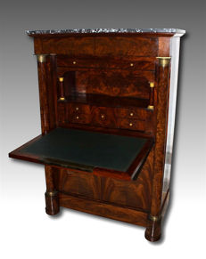 Veneered mahogany secretaire with gilt bronze applications, Empire style, second half of the 19th century
