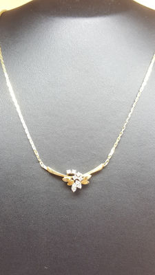 14 kt yellow/white gold women's necklace set with diamonds, approx. 44 cm
