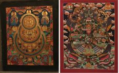 2 Hand painted Thangka paintings, Wheel of life and Buddha Mandala- Tibet/Nepal - late 20th century