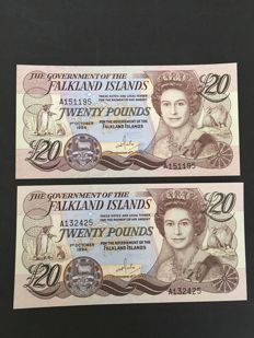 Falkland Islands - 5, 10 and 2 x 20 pounds 1983/1986/1984 - Pick 12a, 14a and 15a (2)
