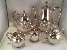 Complete silver coffee- and tea set with decorative edges and pearl rims - v. Kempen and sons - Voorschoten - 1918 and 1919