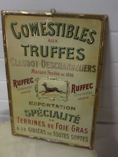 metal advertising sign for 'Comestibles aux Truffes' from 1900
