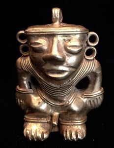 Tumbaga Gold , Colombian Tairona Culture  - 39 x 28 x 14  mm , 17,06 grams,  A pendant , nude  indian native warrior