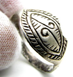 Viking Silver Ring with Runic Symbol - 18mm