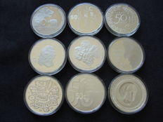 The Netherlands – 50 guilder coins 1982/1998, Beatrix (9 different coins) – silver
