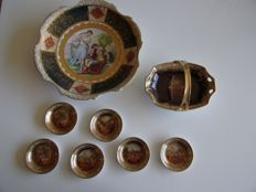 Royal Vienna Style porcelain plate and bonbon with handle and little plates for bonbons