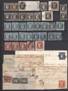 France 1849/1850 – Ceres type, lot of stamps, pairs, different types of cancellations, various colours, letters and fragments