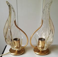 La Murrina, 1975 - Pair of abat-jour table lamps in Murano glass with gold powder coating.