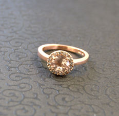 14k gold ring with 0,20ct diamonds  and morganite - size 17 mm ***no reserve price***