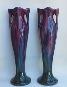 Jerome Massier / Vallauris  - Pair of large Art Nouveau earthenware vases with handles