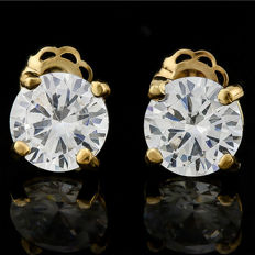 14KT yellow gold created moissanites earrings - 13mm x 6mm