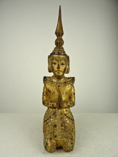 Gold plated wooden Buddhist statue – Burma – second half of the 20th century