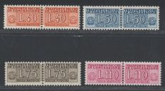 Italian Republic, 1955 – Parcel post 'pacchi in concessione' (via private couriers with 2-part stamps) – Stars watermark.