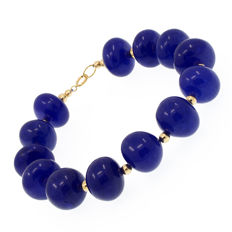 18 kt/750 yellow gold - Sapphires bracelet – Length 21.5 cm. / 17 cm. useful length (inside circumference size)