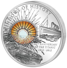 """Cook Islands 2012 – 10 dollars – """"Windows of History / 100th Anniversary of the Titanic"""" – 50 g – silver"""