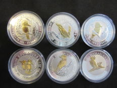 Australia - 1 Dollar 1991/1996 'Kookaburra' (lot of 6 coins) part gilded - 6 x 1 oz Silver